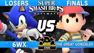 Smash Ultimate Tournament Losers Finals - 6WX (Sonic) vs The Great Gonzales (Ness) -  CNB 170