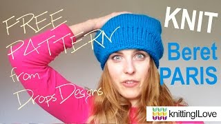 Knit Beret HAT Paris DROPS - DROPS ANDES & DROPS Finished Object  | knittingILove
