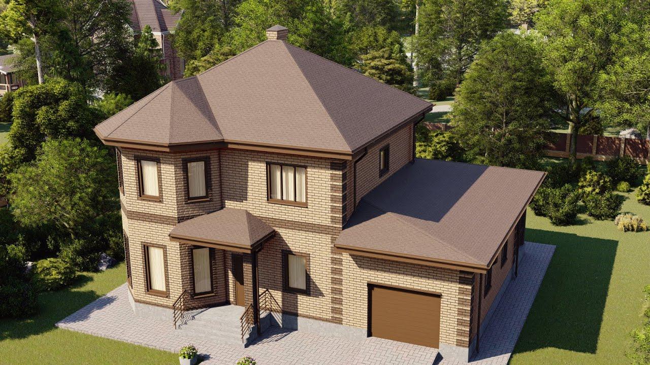 Проект двухэтажного дома 194 м2 с террасой и гаражом
