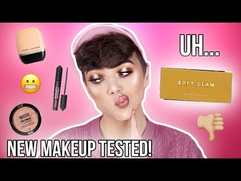 TESTING NEW & OVERHYPED MAKEUP! ABH Soft Glam, Marc Jacobs & more! | Thomas Halbert