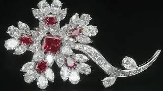 Fancy Red Diamond Floral Brooch | M.S. Rau