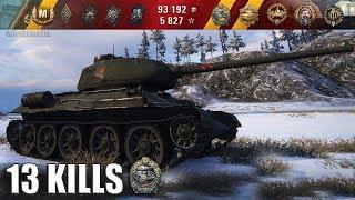 Т-34-85М три отметки 13 фрагов. медаль Оськина 🌟🌟🌟 World of Tanks лучший бой wot