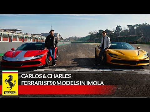 フェラーリ初のPHV「SF90」をF1ドライバーのルクレールとサインツによる試乗レビュー動画