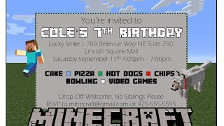 Make your own Minecraft Birthday Invitation with MS Word