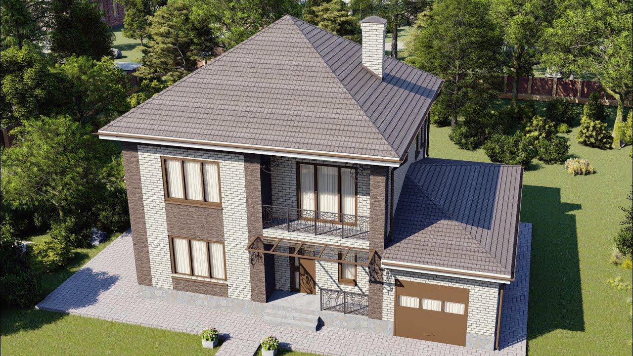 Проект двухэтажного дома 204 м2 с гаражом и балконом