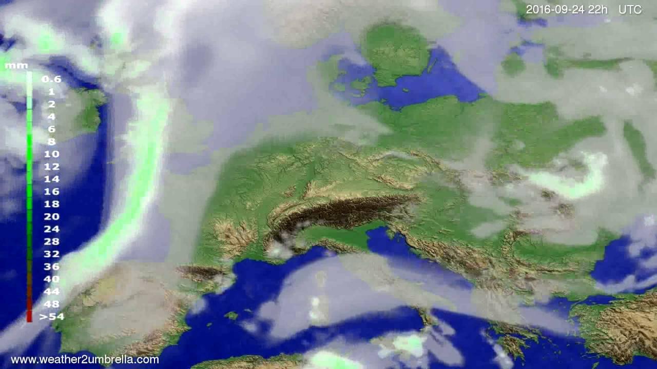 Precipitation forecast Europe 2016-09-22