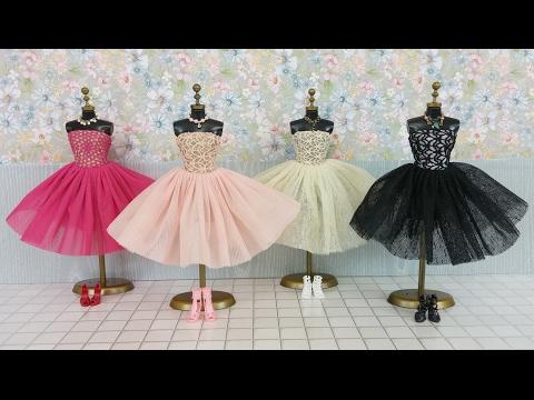 Frozen Elsa Anna Barbie Dress & Doll DressバービードールドレスBoneca Roupas e Vestido de Barbie Bebek Elbisesi