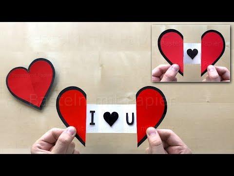 Herz basteln mit Papier zum aufklappen mit Botschaft ❤ Bastelideen Karte - Geschenk