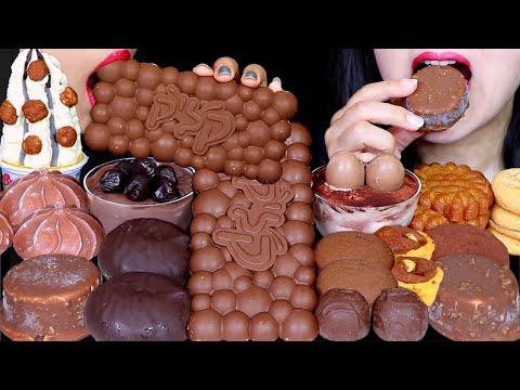 ASMR BUBBLY DESSERTS (CRISPY CHOCOLATE, CHOCOLATE MARSHMALLOW, CAKE, ICE CREAM, PUDDING, YAKGWA) 먹방