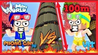 Phong Cận và Mr. vịt thi parkour lên thiên đàng   Thử thách chơi map cao nhất thế giới mini world
