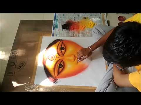 portrait rangoli design goddess by ganesh khare