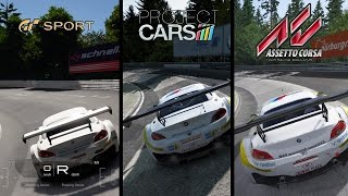 Gran Turismo Sport(Beta 1.05) vs Project Cars vs Assetto Corsa-BMW Z4 GT3 - Nurburgring Nordschleife