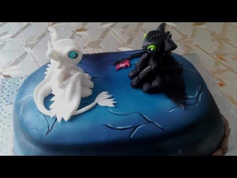 Как оформить торт мастикой на тему Как приручить дракона