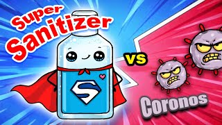 Super Sanitizer Vs Coronos! Coronavirus Awareness Funny Cartoon Animation