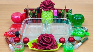 Slime GREEN vs RED Mixing MAKEUP and GLITTER into Clear Slime Satisfying Slime
