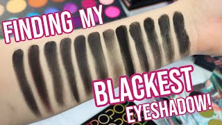 Which Eyeshadow Is The Blackest?!? Swatching ALL My Black Eyeshadows!! | Lauren Mae Beauty