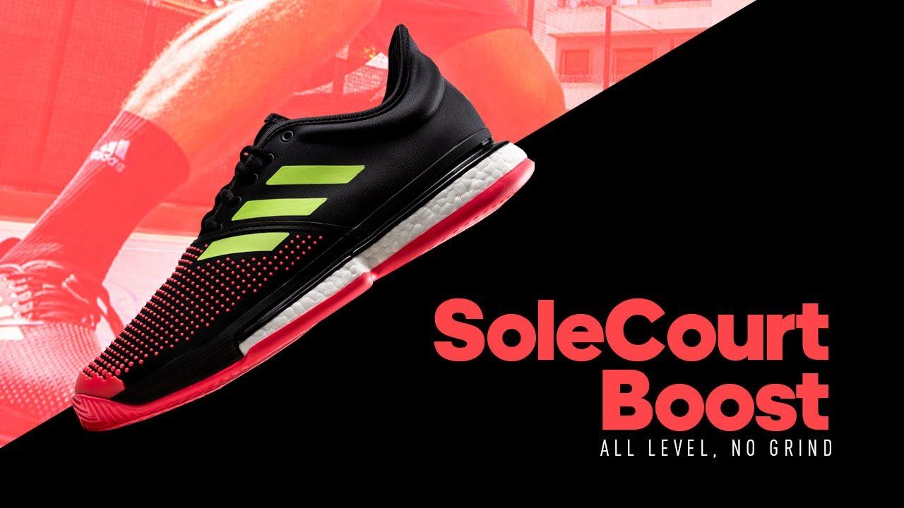 Adidas SoleCourt Boost - Black/Yellow/Red