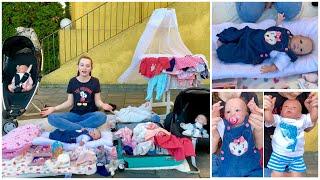 Meine Reborn Baby Sammlung + Zubehör: Kinderwagen / Bett / Schnuller / Klamotten..........
