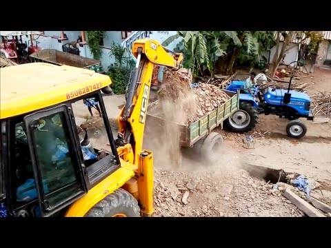 Sonalika DI 47 RX 50 hp Tractor with fully loaded trolley |JCB 3dx| Sonalika tractor power |CFV|
