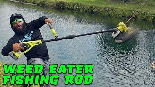 DIY Weed Eater Fishing Rod Challenge!!! BIG FISH!