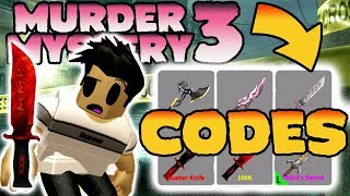FREE PROMO CODES - Murder Mystery 3 Knife Codes get 6 knives FREE Roblox