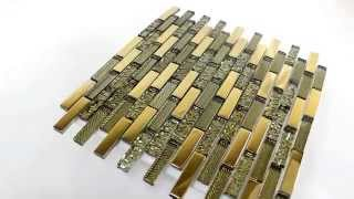Glass Structured Gold Mosaic Tiles