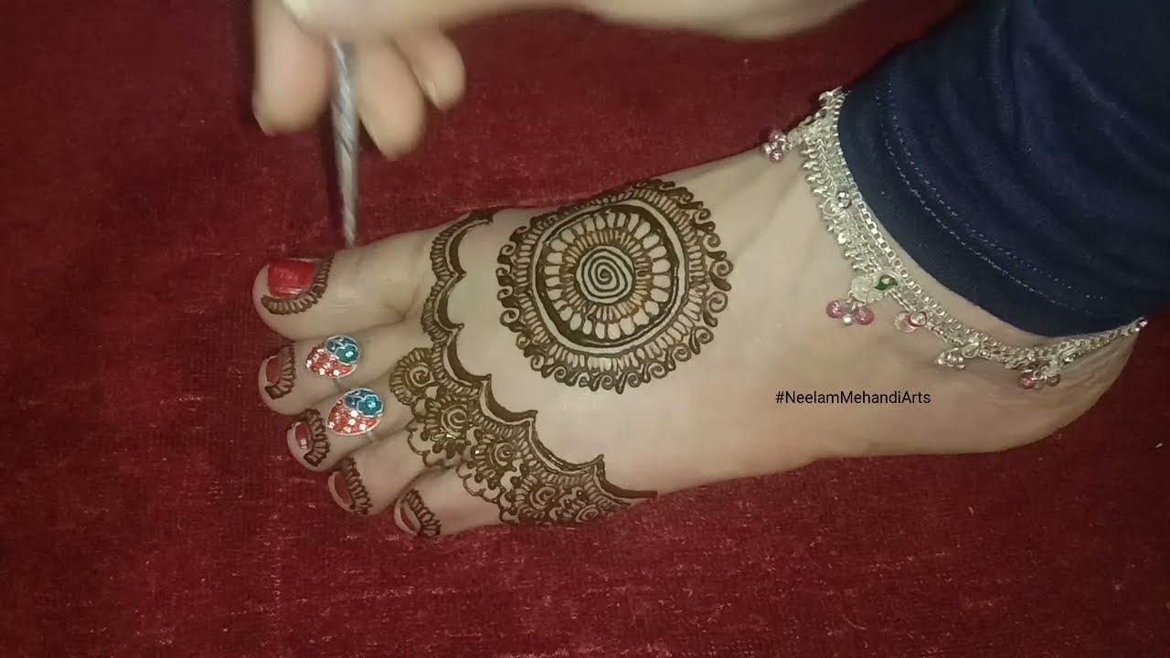 most beautiful feet mehndi design for bedinners by neelam mehandi arts