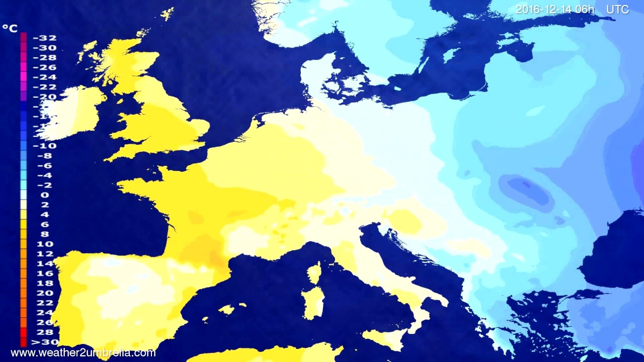 Temperature forecast Europe 2016-12-11