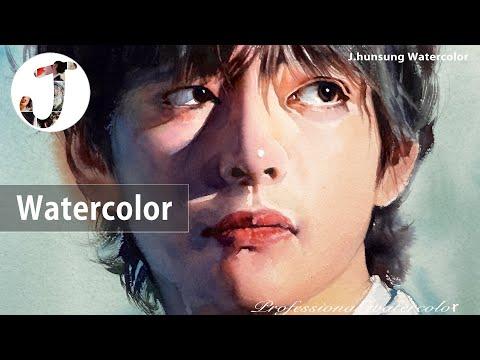 watercolor portrait painting by j.hunsung watercolor