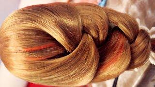 Смотреть онлайн Плетем имитацию широкой косы, красивая прическа