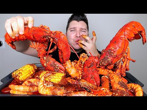Seafood Boil • King Crab Legs, Whole Lobsters, Jumbo Shrimp, Sausage, Potatoes, & Corn • MUKBANG