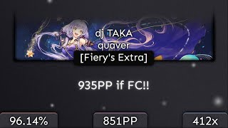[9.37⭐] CXu | dj TAKA - quaver [Fiery's Extra] 96.14% | NEW TOP PLAY 2❌ 851pp