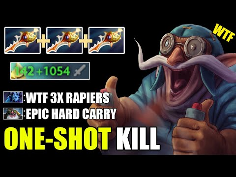 WTF 1K DAMAGE PER HIT?! Gyrocopter 3X Divine Rapier One-Shot KILL Epic Gameplay 7.26 Dota 2