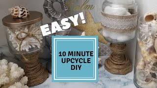 EASY CANDLE JAR UPCYCLE | RUSTIC SHABBY CHIC | BEACH DECOR