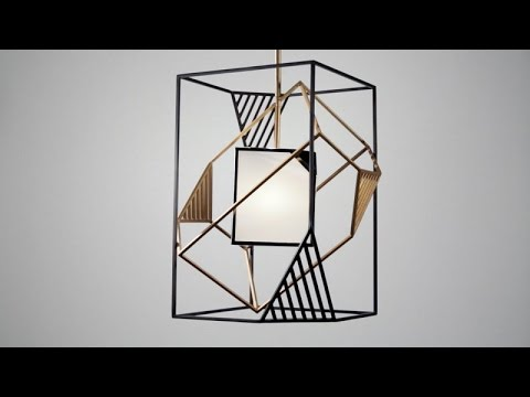 Video for Cubist Bronze and Gold Leaf 22-Inch Pendant