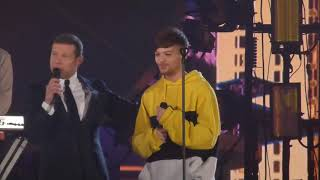 Louis Tomlinson being cute after performing Miss You at the X Factor Final 2017 in London HQ 2/12/17