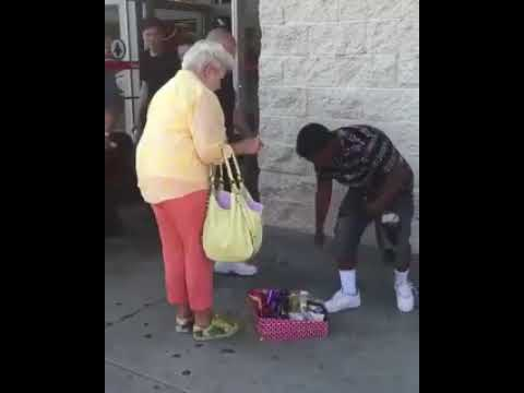Old lady harasses kid for selling candy without a business permit, until a good samaritan come along to buy ALL of the candy.
