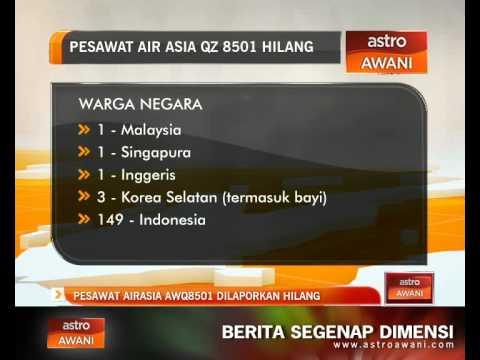 Pesawat AirAsia QZ8501 dilaporkan hilang