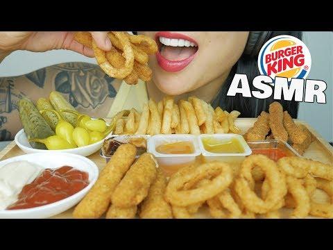 ASMR BURGER KING ONION RINGS + MOZZARELLA STICKS + CHICKEN FRIES (CRUNCHY EATING SOUNDS)   SAS-ASMR