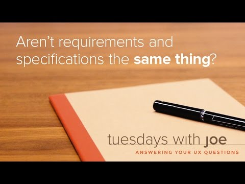 Aren't Requirements and Specifications the SAME THING? (Tuesdays with Joe, Episode 06)
