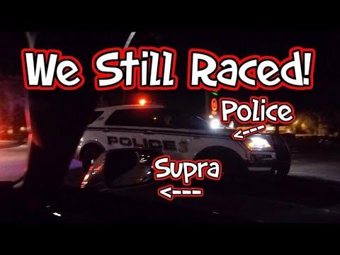 Police Kill Car Meet but We Still Raced! Supra vs Big Turbo SRT4 vs GTR