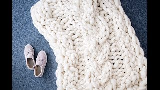 HOW TO HAND KNIT CABLE KNIT MERINO BLANKET