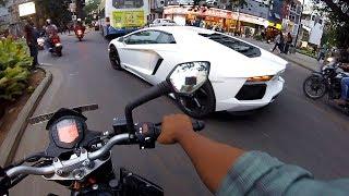 Short City Ride w/ Lamborghini Aventador In INDIA - REACTIONS - GoPro POV