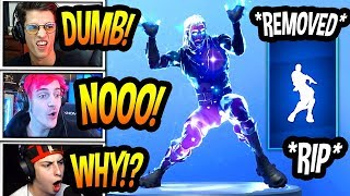 "STREAMERS REACT TO THE ""ORANGE JUSTICE"" DANCE *REMOVED* FROM FORTNITE! *RIP* Fortnite SAD Moments"