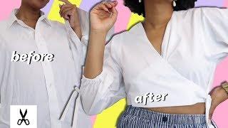 DIY Cropped Wrap Blouse | Mens Shirt Refashion