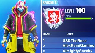 """WORLDS FIRST LEVEL """"100"""" IN FORTNITE BATTLE ROYALE SEASON 5! WORLDS FIRST LIVE (FORTNITE)"""