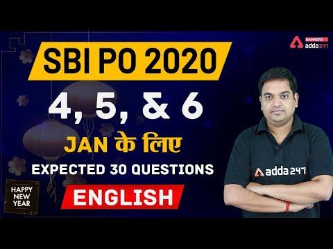 SBI PO 2020   SBI PO English 4th, 5th, & 6th Jan 2020 के लिए ...