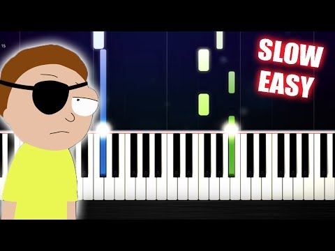 Evil Morty's Theme (For The Damaged Coda) - SLOW EASY Piano Tutorial by PlutaX