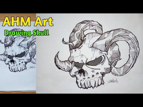 Keren Cara Menggambar Tengkorak Dengan Mudah How To Draw Skull