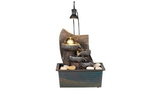 "Faux Stone 10"" High Table Fountain with Crystal Accent"